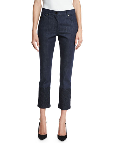 Lace-Hem Skinny Ankle Jeans, Dark Blue