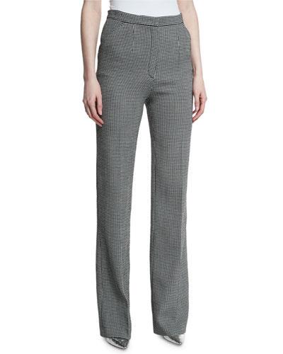 Tuffina High-Waist Wide-Leg Dotted Seersucker Pants, Black