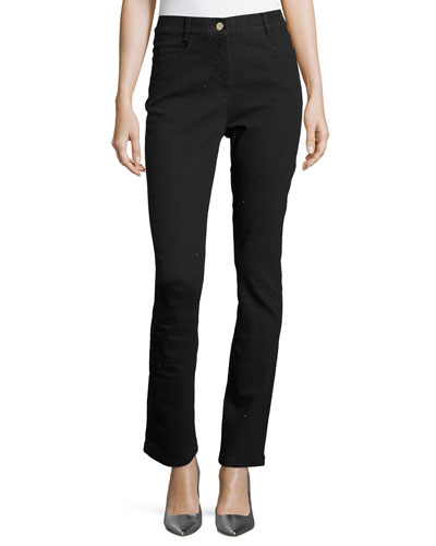 Crystal High-Waist Ankle Jeans, Black