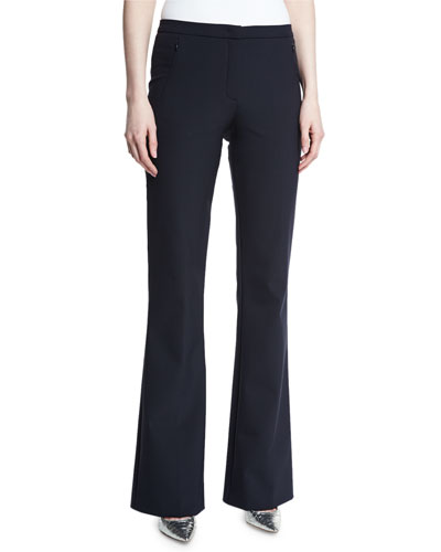 Tulira Techno Boot-Cut Pants, Navy