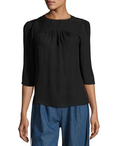 3/4-Sleeve Gathered-Neck Blouse, Black