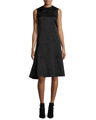 Sleeveless Bird Fil Coupe Dress, Midnight
