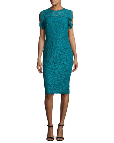Ruffled-Sleeve Lace Dress, Bay