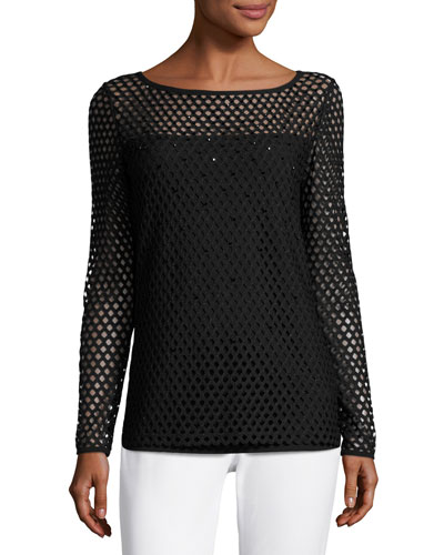 Eve Mesh Long-Sleeve Top, Black