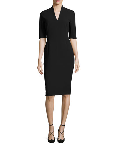 Half-Sleeve Stand-Collar Sheath Dress, Black