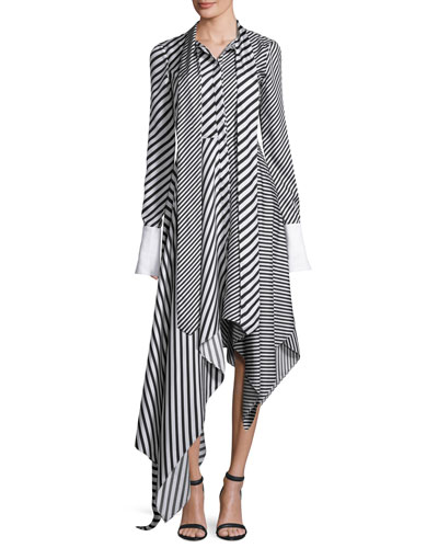 Mixed-Stripe Asymmetric-Hem Shirtdress, White/Black