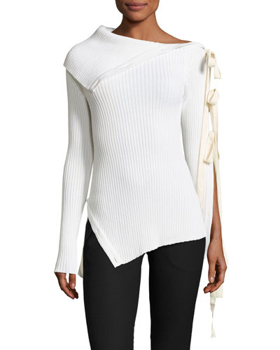 Off-the-Shoulder Ribbon-Sleeve Sweater, Ivory