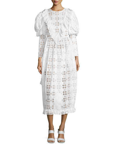 Long-Sleeve Tiered-Trim Eyelet Dress, Ivory