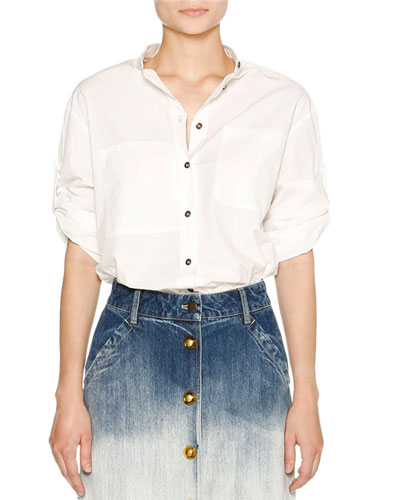 Airy Poplin Button-Front Blouse, White