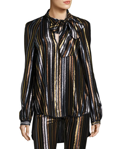 Diane Striped Tie-Neck Blouse, Multi