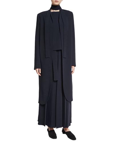 Nattaz Long Open Coat, Navy