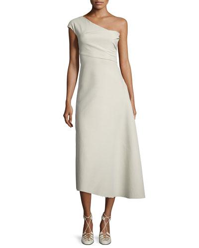 Linus One-Shoulder Midi Dress, Oyster