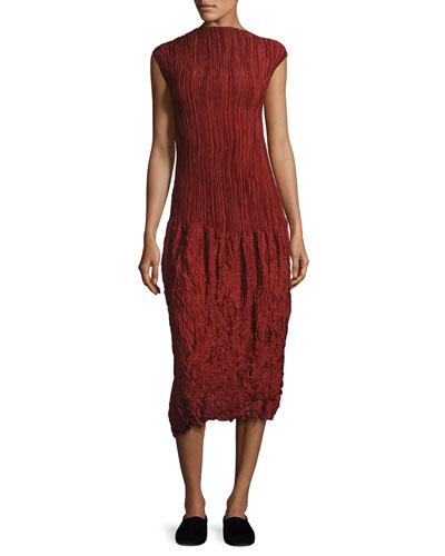 Lucky Pleated Silk Cap-Sleeve Dress, Dark Red