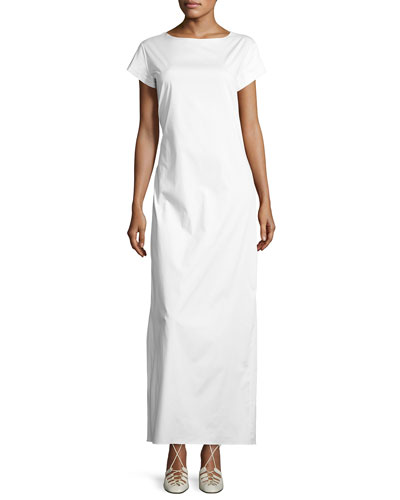 Muriel Short-Sleeve Maxi Dress, White