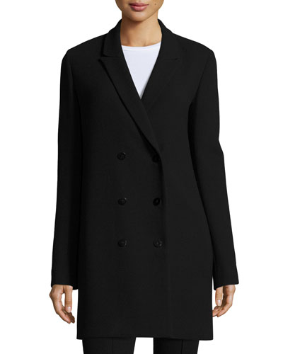 Janna Double-Breasted Wool Jacket, Black