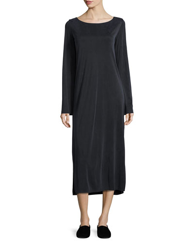 Milla Long-Sleeve Midi Dress, Asphalt