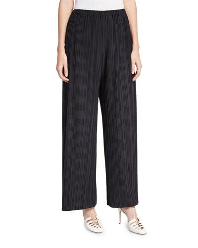 Pala Pleated Pull-On Pants, Black