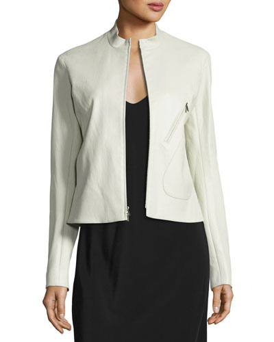 Tripton Leather Zip Jacket, Cream