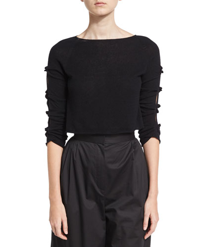 Jian Cashmere Bow-Sleeve Sweater, Black