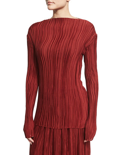 Monti Long-Sleeve Pleated Top