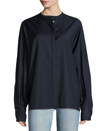 Pani Jewel-Neck Pleated-Sleeve Blouse, Navy
