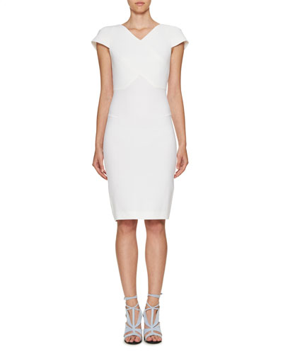 Cap-Sleeve V-Neck Sheath Dress, Winter White