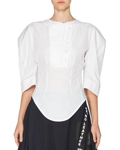Double-Placket Fitted-Waist Blouse, White