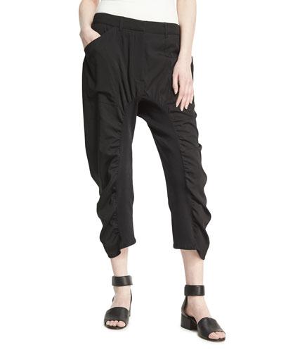 Tina Ruched Harem Pants, Black
