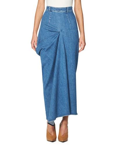 High-Waist Draped Denim Maxi Skirt, Blue