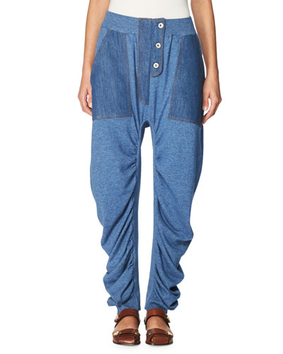Dropped-Inseam Denim Jogger Pants, Blue