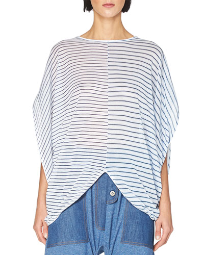 Striped Cocoon Short-Sleeve Sweater, Light Blue