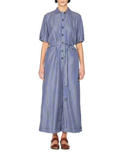 Pinstripe Short-Sleeve Wide-Leg Jumpsuit, Dark Blue