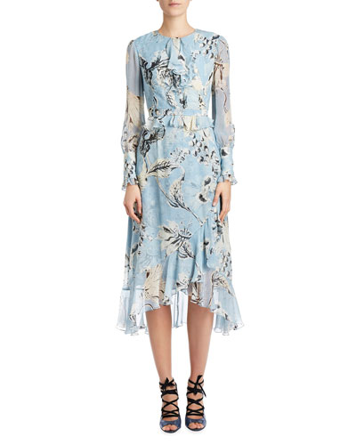 Floral Ruffled Peplum Long-Sleeve Dress, Blue/White