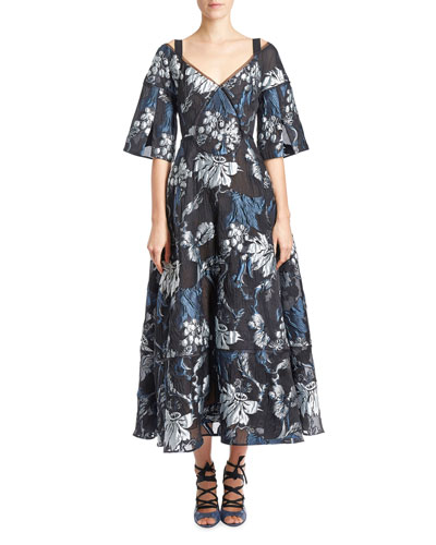 Floral Brocade V-Neck Tea-Length Gown, Black/Blue