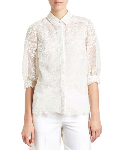Lace 3/4-Sleeve Blouse, Off White