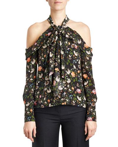 Floral Cold-Shoulder Halter Blouse, Black/Multi