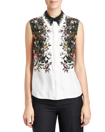 Sleeveless Floral Silk Blouse, White/Black