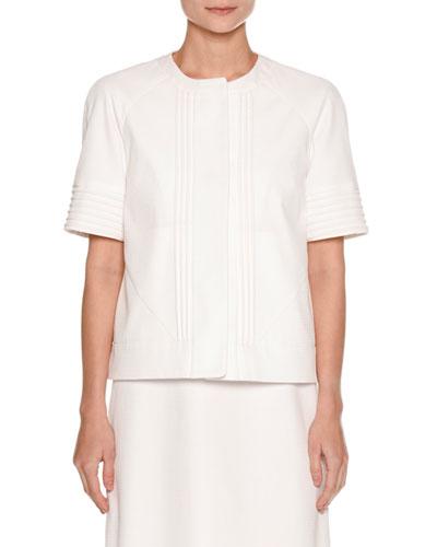 Short-Sleeve Piqué Jacket, White