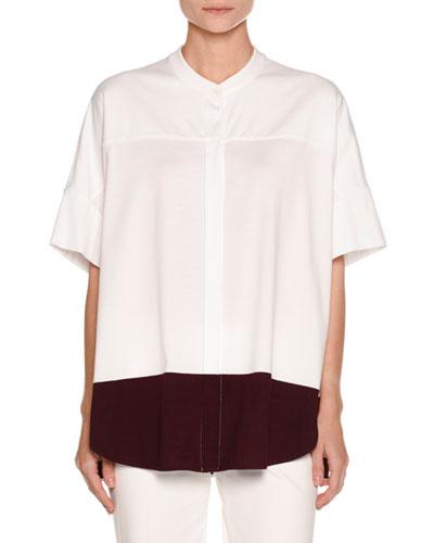 Colorblock Half-Sleeve Tunic, White/Purple