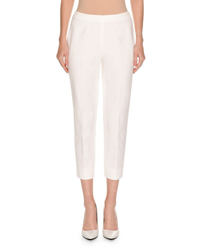 Audrey Slim-Leg Cropped Pants, White