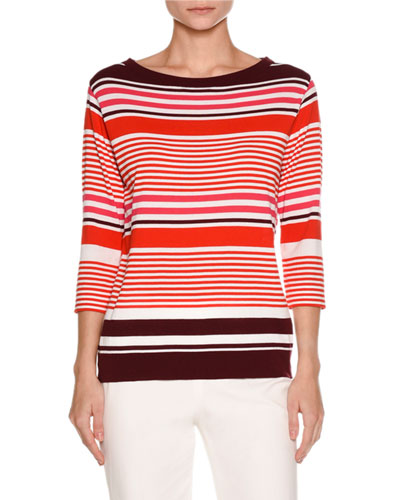 Striped Boat-Neck 3/4-Sleeve Tee, Plum/Pink/White