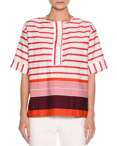Striped Kimono Tunic Top, Plum/Multi
