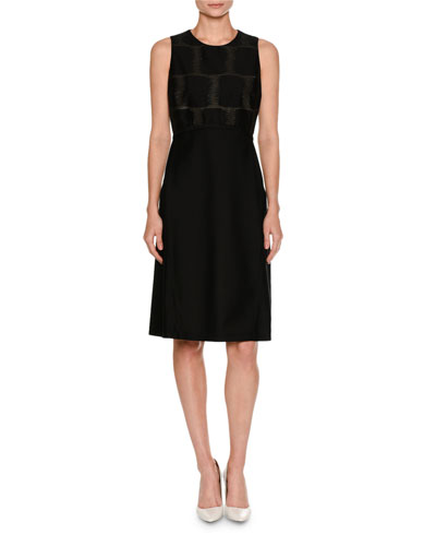 Sleeveless Fil Coupe A-Line Dress, Black