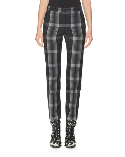 Plaid Slim-Leg Ankle Pants, Multi