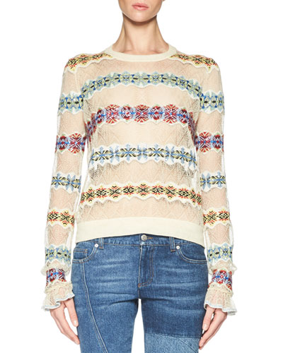 Lace Sweater with Fair Isle Insets, Multicolor