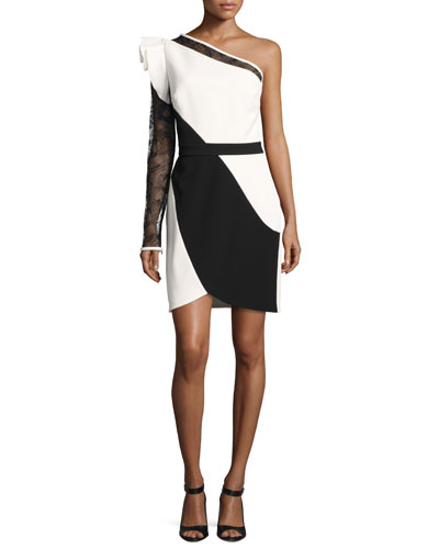 One-Shoulder Lace-Sleeve Minidress, White/Black