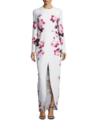 Floral Long-Sleeve Front-Slit Gown, Multi
