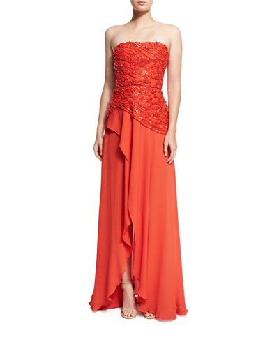 Beaded Strapless Wrap Gown, Tangerine