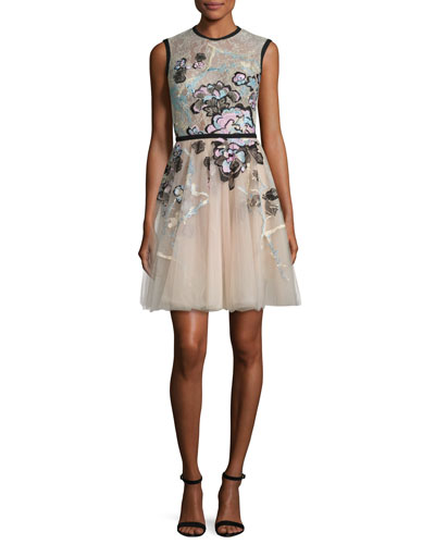 Sleeveless Embroidered Tulle Dress, Multicolor