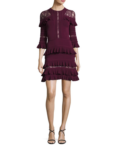 Ruffled Lace-Inset 3/4-Sleeve Dress, Cherry